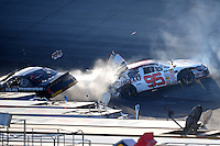 Sept 19, 2008; Dover, DE, USA; NASCAR Camping World Series East driver Tim Andrews (95) is hit by Alex Kennedy (37) during the Sunoco 150 at Dover International Speedway. Mandatory Credit: Mark J. Rebilas-