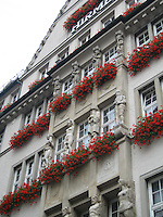 Red flower boxes in Munich, Germany