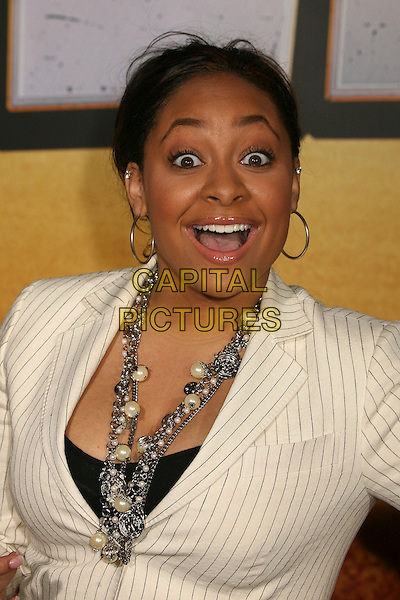 """RAVEN SIMONE .""""Wild Hogs"""" Los Angeles Premiere at the El Capitan Theatre, Hollywood, California, USA..February 27th, 2007.headshot portrait hoop earrings necklaces mouth open .CAP/ADM/BP.©Byron Purvis/AdMedia/Capital Pictures"""