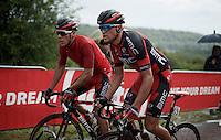Philippe Gilbert (BEL/BMC) &amp; Greg Van Avermaet (BEL/BMC) together up 'Le Petit Poggio' in the rain<br /> <br /> Belgian National Road Cycling Championships 2016<br /> Les Lacs de l'Eau d'Heure