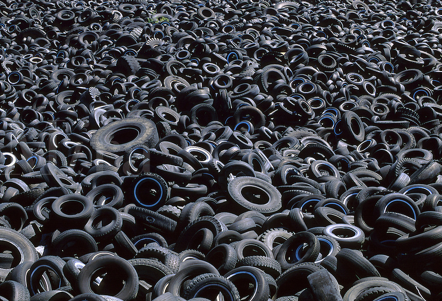Used rubber tires in dump.
