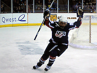 February 4, 2010:  Team USA's Kelli Stack (16), scores a 1st period goal during the Quest Tour Pre Olympic Exhibition match between Finland and Team USA women's ice hockey at the World Arena, Colorado Springs, Colorado.  Team USA defeats Finland 5-1.