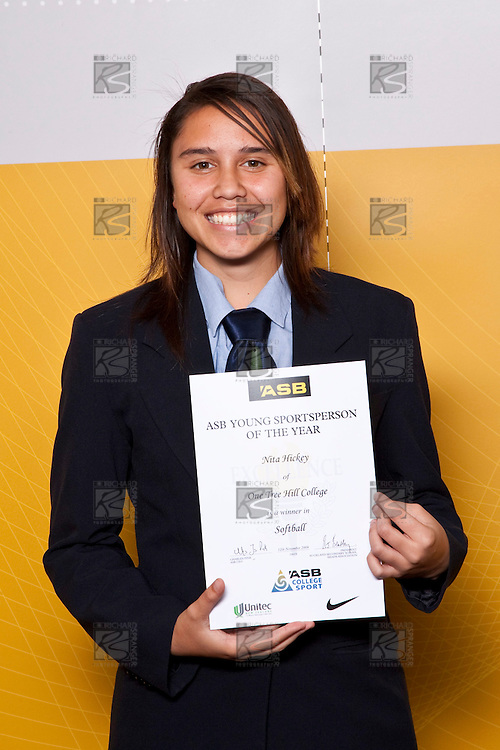 Girls Softball winner Nita Hickey from One Tree Hill College. ASB College Sport Auckland Secondary School Young Sports Person of the Year Awards held at Eden Park on Thursday 12th of September 2009.