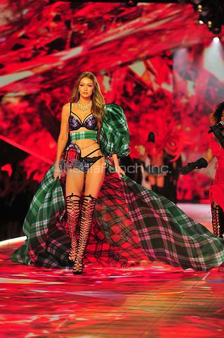 NEW YORK, NY - NOVEMBER 08: Gigi Hadid at the 2018 Victoria's Secret Fashion Show at Pier 94 on November 8, 2018 in New York City. Credit: John Palmer/MediaPunch