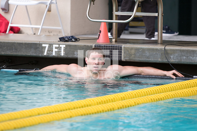 BERKELEY, CA - Feb. 18, 2017: Cal's Ryan Murphy after swimming in the Men 200 Yard Backstroke.  Cal Men's Swimming and Diving competed against Stanford at Spieker Aquatics Complex.