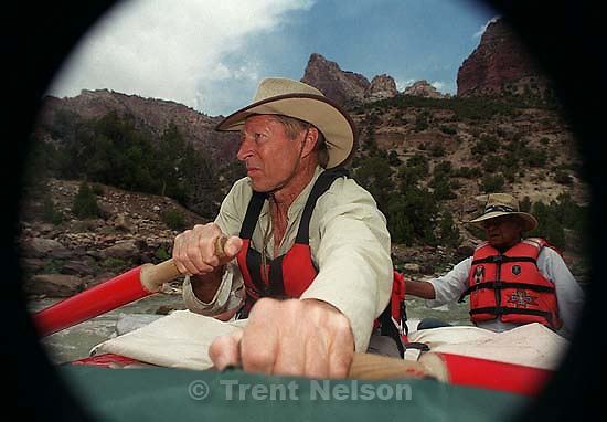 Dee Holladay pilots rapids on a Native American river trip through Lodore Canyon and Dinosaur National Monument.<br />