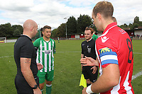 Elliot Styles of Hornchurch tosses the coin during AFC Hornchurch vs Soham Town Rangers, Bostik League Division 1 North Football at Hornchurch Stadium on 12th August 2017