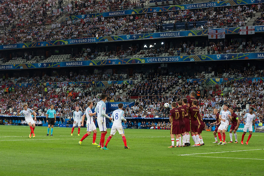 GOAL - England's Eric Dier scores the opening goal from a free kick<br /> <br /> Photographer Craig Mercer/CameraSport<br /> <br /> International Football - 2016 UEFA European Championship - Group B - England v Russia - Saturday 11th June 2016 - Stade Velodrome, Marseille - France <br /> <br /> World Copyright &copy; 2016 CameraSport. All rights reserved. 43 Linden Ave. Countesthorpe. Leicester. England. LE8 5PG - Tel: +44 (0) 116 277 4147 - admin@camerasport.com - www.camerasport.com