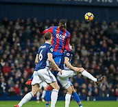 2nd December 2017, The Hawthorns, West Bromwich, England; EPL Premier League football, West Bromwich Albion versus Crystal Palace; Christian Benteke of Crystal Palace gets high to head the ball