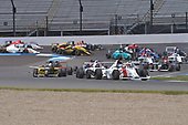 2017 F4 US Championship<br /> Rounds 4-5-6<br /> Indianapolis Motor Speedway, Speedway, IN, USA<br /> Sunday 11 June 2017<br /> #19 Timo Reger, pole sitter for race #2 leads pack in oipenning lap <br /> World Copyright: Dan R. Boyd<br /> LAT Images