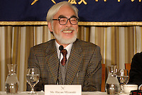 Animator Hayao Miyazaki speaking at the Foreign Correspondent's Club of Japan, in Tokyo, 20 November 2008.