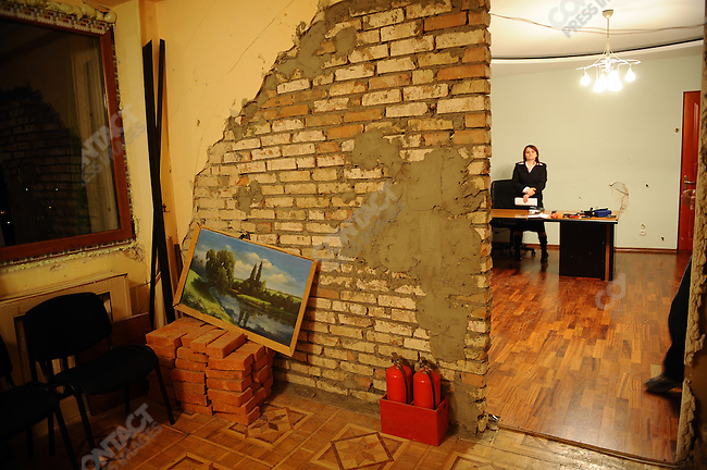 The reception area of the office of the South Ossetian president Eduard Kokoity remained only partially repaired after the damage inflicted on the administration building in the capital Tskhinval during the war with Georgia in August 2008.