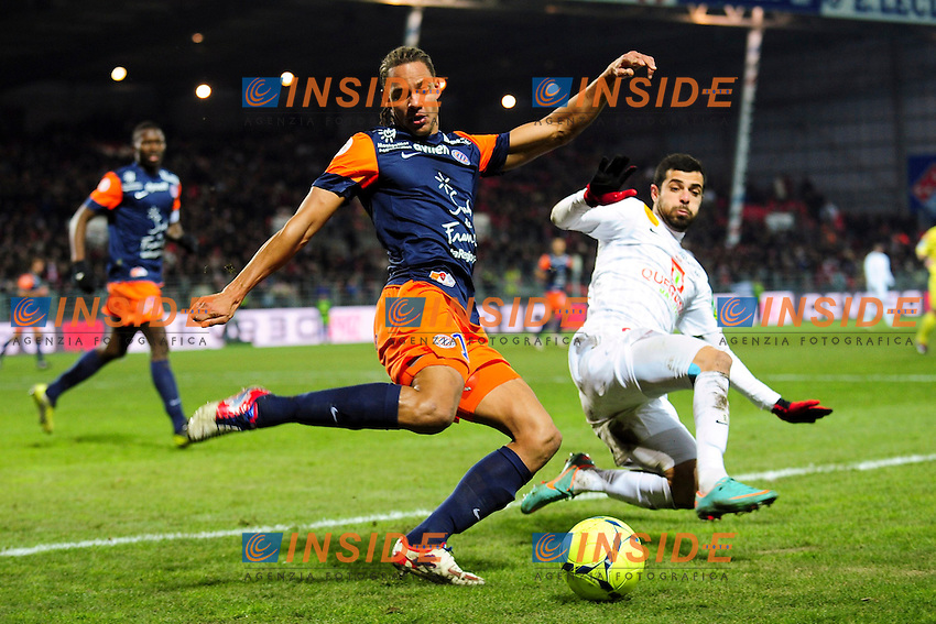 Eden Ben Basat (Brest) vs Daniel Congre (Montpellier) .Football Calcio 2012/2013.Ligue 1 Francia.Foto Panoramic / Insidefoto .ITALY ONLY