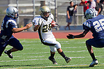 Torrance, CA 09/08/11 -Issac Kuo (Peninsula #28) and an unidentified North player in action during the North-Peninsula Junior Varsity Football game at North High School in Torrance.