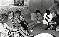 Montreal (Qc) CANADA - august 26 1986 File Photo - Pierre Trudeau, Denise Filliatrault, ?, Isaac De Bankole, Michel attend a party at l'Esprit. 1234 de la Montagne