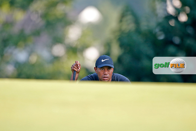 Tiger Woods (USA) putts on the 13th hole during the second round of the 100th PGA Championship at Bellerive Country Club, St. Louis, Missouri, USA. 8/11/2018.<br /> Picture: Golffile.ie | Brian Spurlock<br /> <br /> All photo usage must carry mandatory copyright credit (© Golffile | Brian Spurlock)
