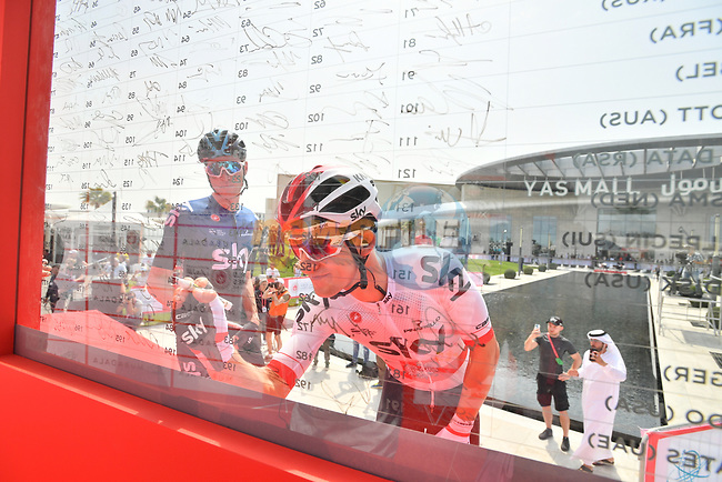 Polish National Champion Michal Kwiatkowski (POL) Team Sky signs on before the start of Stage 2 of the 2019 UAE Tour, running 184km form Yas Island Yas Mall to Abu Dhabi Breakwater Big Flag, Abu Dhabi, United Arab Emirates. 25th February 2019.<br /> Picture: LaPresse/Massimo Paolone | Cyclefile<br /> <br /> <br /> All photos usage must carry mandatory copyright credit (© Cyclefile | LaPresse/Massimo Paolone)
