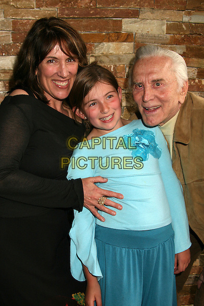 CEDERING FOX, LILLIAN (DAUGHTER) & KIRK DOUGLAS.PEN USA and WordTheatre's 2007 Benefit Brunch at Aphrodisiac Restaurant, Los Angeles, California, USA..May 20th, 2007.half length black top blue mother mum mom family .CAP/ADM/BP.©Byron Purvis/AdMedia/Capital Pictures