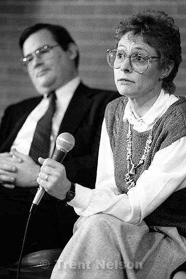 Joe Cannon and Linda Clark at a BYU clean air symposium<br />