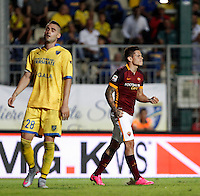 Calcio, Serie A: Frosinone vs Roma. Frosinone, stadio Comunale, 12 settembre 2015.<br /> Roma&rsquo;s Juan Iturbe, right, celebrates after scoring during the Italian Serie A football match between Frosinone and Roma at Frosinone Comunale stadium, 12 September 2015. Roma won 2-0.<br /> UPDATE IMAGES PRESS/Isabella Bonotto
