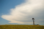 Fairbury metal windmill, approaching summer thunderstorm in Nebraska's Sand Hills