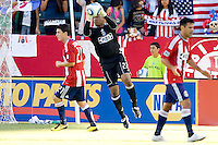 Chivas USA goalkeeper Zach Thornton reaches for a ball. The Kansas City Wizards defeated CD Chivas USA 2-0 at Home Depot Center stadium in Carson, California on Sunday September 19, 2010.