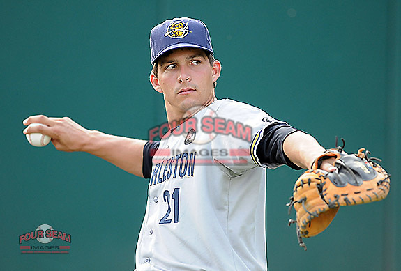 Photo of the Charleston RiverDogs in a game against the Greenville Drive on Aug. 24, 2010, at Fluor Field at the West End in Greenville, S.C. Photo by: Tom Priddy/Four Seam Images