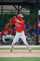 GCL Phillies West second baseman Christian Valerio (13) at bat during a game against the GCL Blue Jays on August 7, 2018 at Bobby Mattick Complex in Dunedin, Florida.  GCL Blue Jays defeated GCL Phillies West 11-5.  (Mike Janes/Four Seam Images)