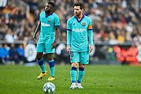 25th January 2020; Mestalla, Valencia, Spain; La Liga Football,Valencia versus Barcelona; Lionel Messi of FCB, prepares to take a free kick