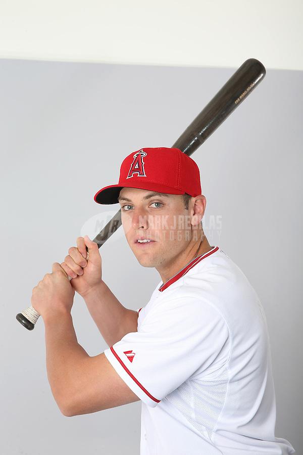 Feb. 21, 2113; Tempe, AZ, USA: Los Angeles Angels outfielder Peter Bourjos poses for a portrait during photo day at Tempe Diablo Stadium. Mandatory Credit: Mark J. Rebilas-
