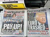 Headlines of New York tabloid newspapers on Friday, May 26, 2017 report on President Donald Trump's speech to NATO allies lecturing them on paying what they owe. (© Richard B. Levine)