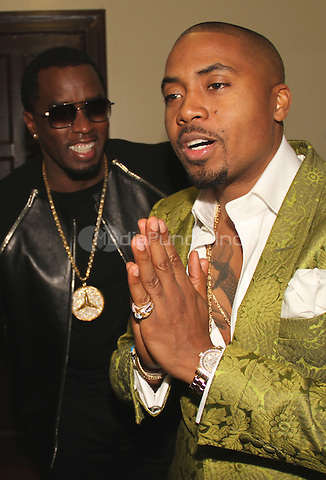 LOS ANGELES, CA - JANUARY 24: P Diddy and Nas backstage at the Beats Music Official Launch Party from Beats by Dr. Dre at Belasco Theatre on January 24, 2014 in Los Angeles, California. Credit: Walik Goshorn/MediaPunch