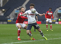 Preston North End's Sean Maguire in action with Bristol City's Josh Brownhill<br /> <br /> Photographer Mick Walker/CameraSport<br /> <br /> The EFL Sky Bet Championship - Preston North End v Bristol City - Saturday 2nd March 2019 - Deepdale Stadium - Preston<br /> <br /> World Copyright © 2019 CameraSport. All rights reserved. 43 Linden Ave. Countesthorpe. Leicester. England. LE8 5PG - Tel: +44 (0) 116 277 4147 - admin@camerasport.com - www.camerasport.com