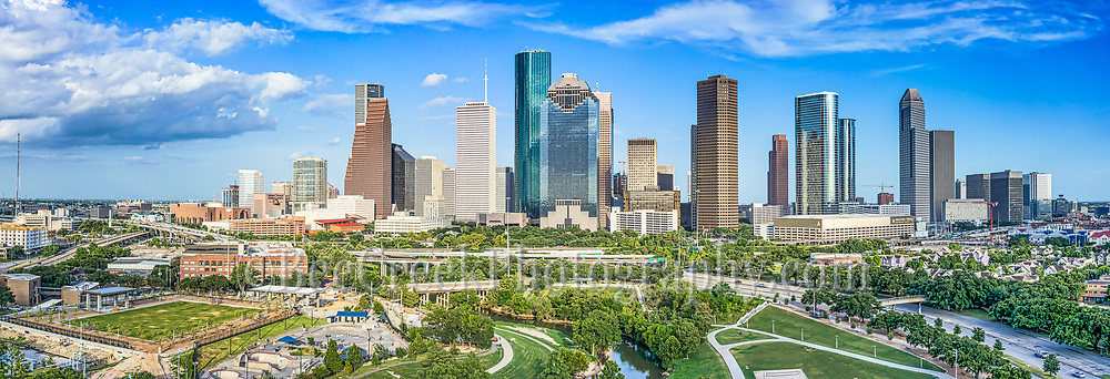 This is a aerial panorama of the Houston skyline view of the city which includes the Buffalo Bayou along with the Jamail Skate Park and the Eleanor Tinsley Park with all the high rise skyscrapers in downtown in view. In this skyline pano you can see many of the green areas in downtown with the parks along the Buffalo Bayou.   We were able to capture this high quality aerial image because we use a full frame camera on our drone for out still photographs so we can get the best image which can be printed easlity as a 20 x 60 or larger size without loss of resolution for panos.​