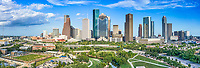 Houston Skyline Aerial Panorama - Color Canvas Prints -<br />