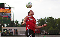 Meghan Lenczykof the Atlanta Beat heads the ball. The Philadelphia Independence defeated the Atlanta Beat 1 - 0 Saturday, July 16 at the KSU Stadium.