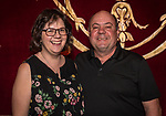 WATERBURY, CT. 18 May 2018-051818BS19 - From left, Christine and Bob Pelletier of Oxford stand on the Palace's stage for a photo on Friday evening for the Palace's Annual Big Fundraiser. Bill Shettle Republican-American
