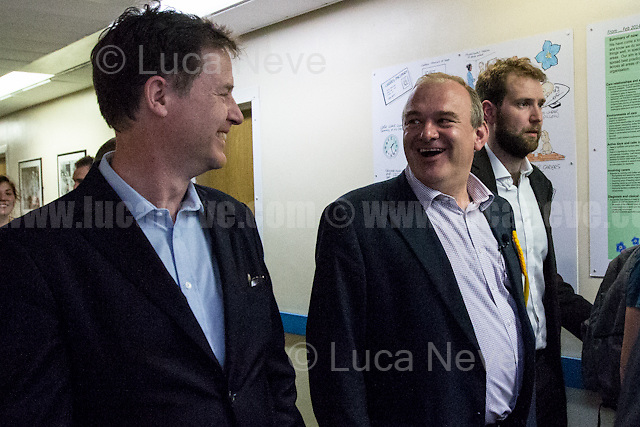 (From L to R) Nick Clegg (Liberal Democrats politician and Former British Deputy Prime Minister of the Coalition Government 2010-2015 - Conservative Party and Liberal Democrats) &amp; Ed Davey (Liberal Democrat politician, former Member of Parliament for Kingston and Surbiton from 1997 to 2015; Former Secretary of State for Energy and Climate Change from 2012 to 2015 in the Conservative-Liberal Democrat coalition Government).<br /> <br /> Norbiton (England), 01/06/2017. Today, Tim Farron (Leader of the Liberal Democrats), Nick Clegg (Liberal Democrats politician and Former British Deputy Prime Minister of the Coalition Government 2010-2015 - Conservative Party and Liberal Democrats), Sarah Olney (Former Liberal Democrats Member of Parliament for Richmond Park, she will contest the same seat in the 2017 general election) and Ed Davey (Liberal Democrat politician, former Member of Parliament for Kingston and Surbiton from 1997 to 2015; Former Secretary of State for Energy and Climate Change from 2012 to 2015 in the Conservative-Liberal Democrat coalition Government) visited Kingston Hospital to meet and discuss with representatives of the EU national staff of the hospital which created the &quot;Brexit Support Group&quot;. The discussion was followed by a rally at the Shiraz Mirza Community Hall with members and supporters of the Liberal Democrats. <br /> <br /> For more information please click here: http://www.libdems.org.uk/manifesto<br /> <br /> For more information about the Hospital please click here: https://www.kingstonhospital.nhs.uk/