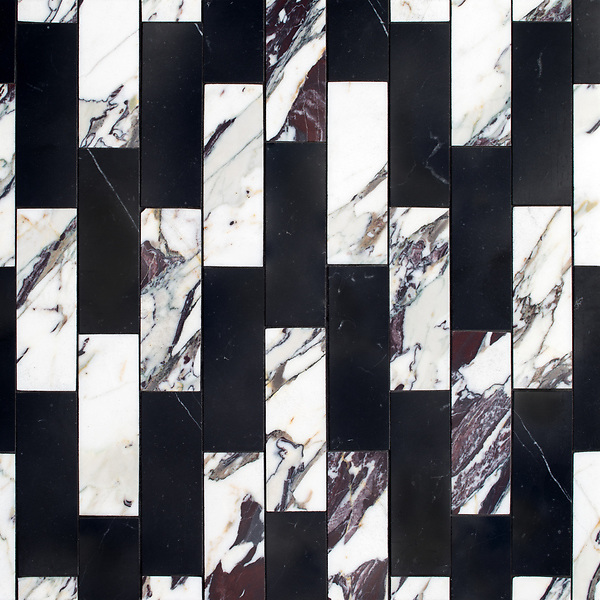 Ziggurat Grand, a stone hand-cut mosaic, shown in polished Plumeria and Nero Marquina , is part of the Tissé® collection for New Ravenna.