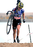 29 October 2006: U.S. Women's Cyclocross Champion, Katie Compton, leads through the run up the UCI Boulder Cup Series, Boulder, Colorado.