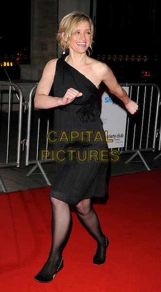 ANNE-MARIE DUFF.Attending the Variety Club Showbiz Awards 2008, held at Grosvenor House Hotel, London, England, .November 16th 2008..full length black one shoulder dress tights shoes Anne Marie hands walking marching funny .CAP/CAN.©Can Nguyen/Capital Pictures