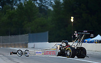 Aug. 31, 2012; Claremont, IN, USA: NHRA top fuel dragster driver Chris Karamesines during qualifying for the US Nationals at Lucas Oil Raceway. Mandatory Credit: Mark Rebilas-