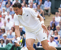 Milos Raonic (CAN) in action during the mens final against Andy Murrey (GBR), Wimbledon Championships 2016, Day Fourteen, All England Lawn Tennis & Croquet Club, Church Rd, London, United Kingdom - 10th July 2016