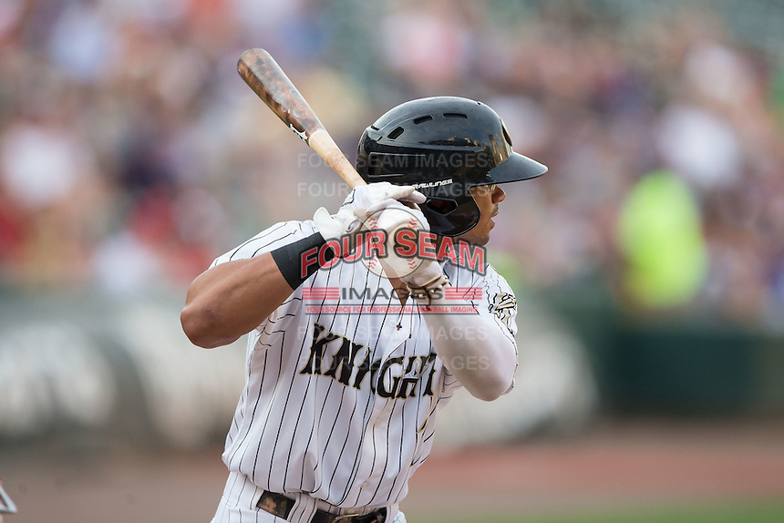 Jacob May (3) of the Charlotte Knights at bat against the Pawtucket Red Sox at BB&T BallPark on July 6, 2016 in Charlotte, North Carolina.  The Knights defeated the Red Sox 8-6.  (Brian Westerholt/Four Seam Images)