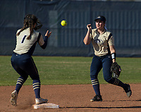 NWA Democrat-Gazette/BEN GOFF @NWABENGOFF<br /> Alyssa Cordell, Bentonville West second baseman, tosses the ball to shortstop Hallie Wacaser for an out at second Tuesday, April 10, 2018, during the game against Bentonville at Bentonville West's Wolverine Athletic Complex in Centerton.