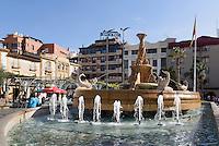 Brunnen an der Plaza de Colón in Lorca,  Provinz Murcia, Spanien, Europa