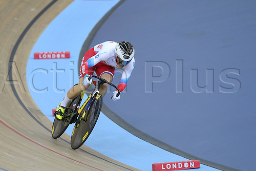 04.03.2016. Lee valley Velo Centre. London England. UCI Track Cycling World Championships Womens 500m time trial.   VOINOVA Anastasiia (RUS)