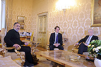 Roma, 16 Marzo 2012.Palazzo chigi.Il presidente del consiglio Mario Monti incontra i  vertici della Fiat Sergio Marchionne e John Elkan..a termine dell'incontro presentata la nuova fiat Panda nel cortile