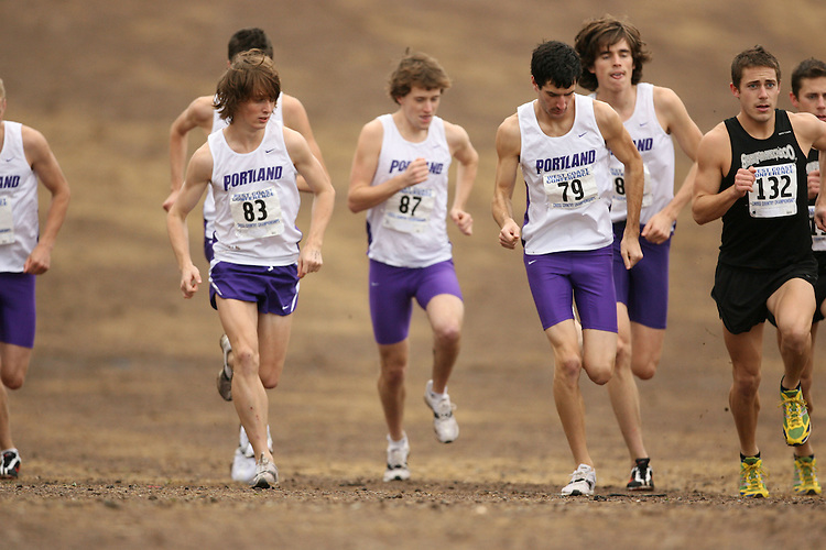 BELMONT, CA - NOVEMBER 1:  David Kinsella, Colin Longmuir, Colin Hariis, Andy Edick, Robert Cosby, Jordan Foster, and Dan Prahl of the Portland Pilots during the West Coast Conference Men's Cross Country Championships on November 1, 2008 in Belmont, California.