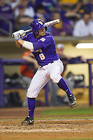 LSU Tigers first base Mason Katz #8 at bat against the Auburn Tigers in the NCAA baseball game on March 23, 2013 at Alex Box Stadium in Baton Rouge, Louisiana. LSU defeated Auburn 5-1. (Andrew Woolley/Four Seam Images).